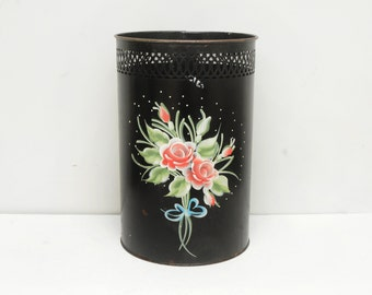 Vintage Tole Trash Can Handpainted Roses Waste Basket
