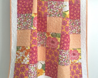 Modern Patchwork Baby Girl Quilt Shades of Pink Orange Yellow White Floral Prints