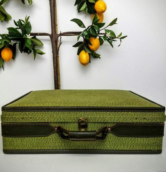 """Mid Century Suitcase HartmanTweed Custom Luggage Hard Luggage Suitcase Overnight Bag-""""Ships International"""" Email For Rates"""