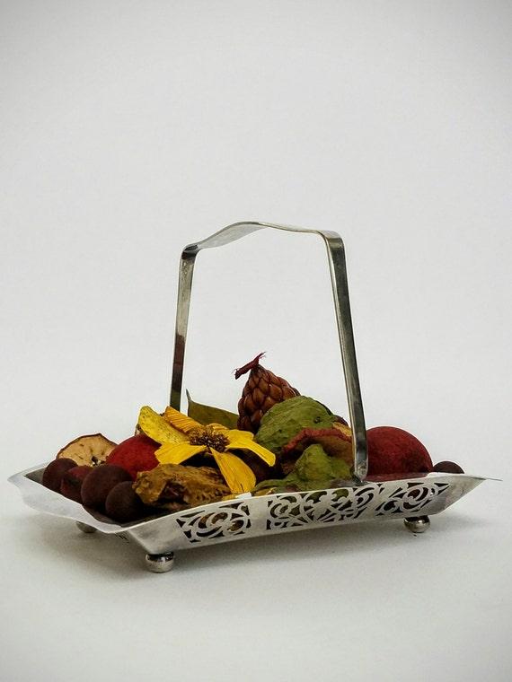 """Silver Plate Filigree Bridal Basket, Flower Basket, Wedding Favor Basket-""""Ships International"""" Email For Rates"""