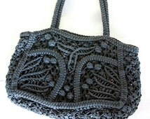 Large Black Waxed Cotton Laces Macrame Bag / Braided Black Basket Tote