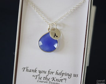 11 Monogram Bridesmaid Necklace Blue, Bridesmaid Gift, Royal Blue Gemstone, Sterling Silver, Initial Jewelry, Personalized, Dark Blue,Cobalt
