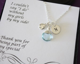5 Bridesmaid Necklaces Personalized Sand Dollar, Beach Wedding, Sterling Silver, Gemstone, Initial jewelry, Charm, Thank you Card