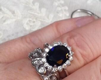 Sapphire Engagement Ring - Royal  Sapphire Engagement Ring - Princess Ring