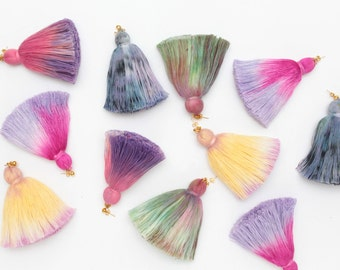FRINGY / Simple one ombre dyed tassel earrings - Choose your color - Ready to Ship