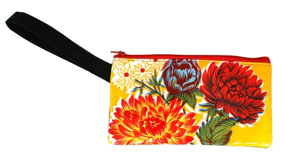 Yellow, floral oil cloth, wristlet, flat bag, small bag