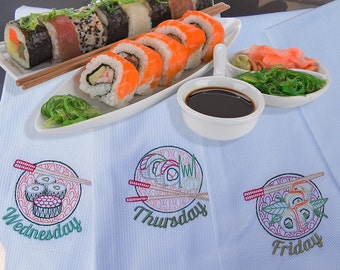 Sushi Days of the Week Embroidered Tea Towels
