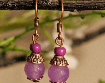 Earrings Purple Copper Free Worldwide Shipping