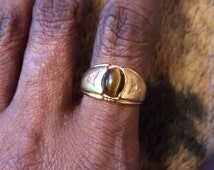 Gold Plated 18 Kt HGE Tiger Eye With Rhinestones Ring   Size 6 1/2