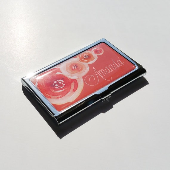 Personalized Business Card Holder Custom Flower Business Card