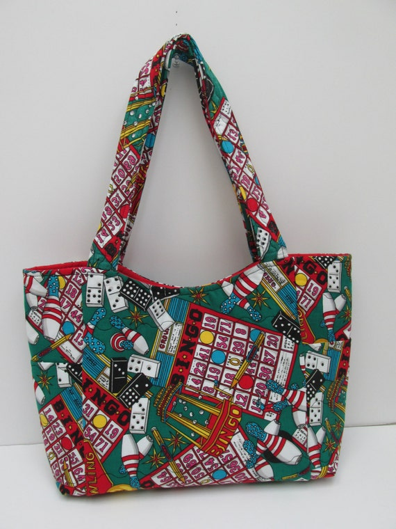 Crochet Pattern For Bingo Bag : Green Red Crochet Tote Purse Bingo Bag Embroider Bag Craft