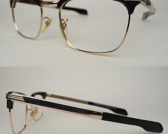 Vtg RZ Austria 1/10 12K GF Sunglasses Eyeglasses Frames Gold Filled Eyewear Mid Century 50 60s Mad Men Horn Rimmed Plastic Metal Combination