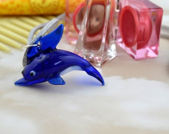 Reclaimed Murano Glass Dolphin - Upcycled - Repurposed -Summer - Beach - Ocean - Pendant Necklace