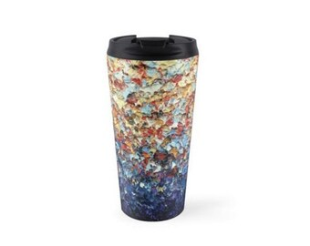 15oz Stainless Steel Travel Mug, Coffee Travel Cup, Abstract Art Coffee Tumbler, Rainbow Art Colorful Water Bottle, Coffee Cup, Teacher Gift