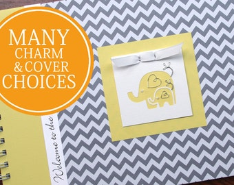 Baby Memory Book | Baby Book | Baby Album Photo Book & Journal | Personalized Baby's First Year Book |  Elephants | Gray Chevron + Yellow