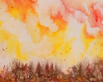 "ORIGINAL  watercolor painting, not a print. ""Morning Breaking on Ridge"" FREE SHIPPING"