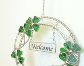 Vintage Irish Welcome Sign Stained Glass Wreath Door Sign