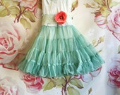 green & seafoam ruffled organza baby doll cupcake party dress by mermaid miss Kristin