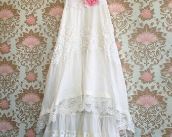 White cotton tiered lace boho wedding dress by Mermaid Miss Kristin