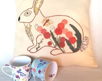 Hare Cushion. Emroidered Wool Felt Cushion. Square Cushion. Cream Cushion. Home decor. Handmade cushion. Rabbit cushion. UK shop