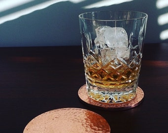 Copper Hammered Metallic Drinks Coasters