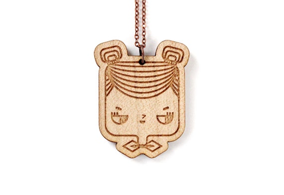 Judith necklace - cute geek girl character pendant - wooden illustrated necklace - lasercut maple wood - graphic minimalist jewelry