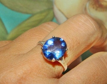 Tanzanite Ring, Ring With Big Stone, Sterling Silver, Size 8