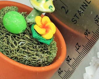 Cheery Yellow and Green Mushroom, Flower and Easter Egg Ornamental Arrangement with Secret Coin Stash