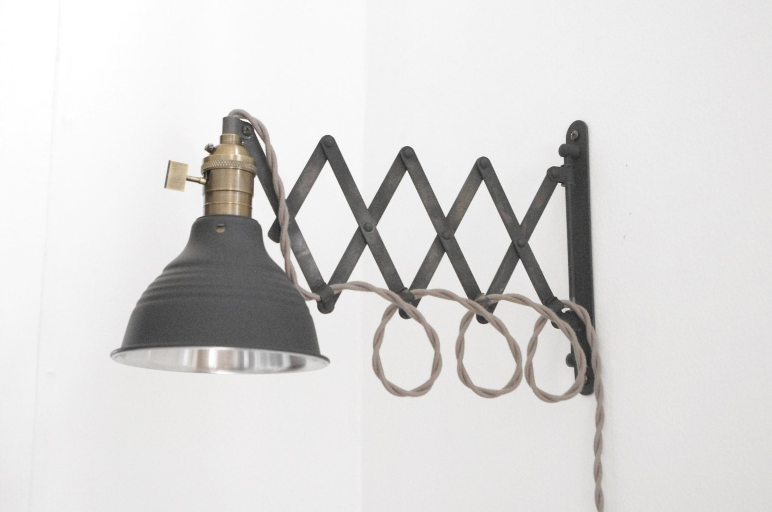 Wall Mounted Articulated Lamp : Patina Scissor Lamp Industrial Articulating Wall Lamp Light