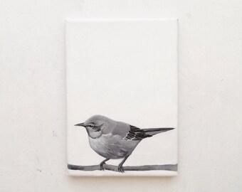 Original painting.Acrylic on small canvas. Bird painting. Original painting.