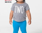 Baby's Second Birthday 'Two' Tri Blend Baby Toddler T-Shirt