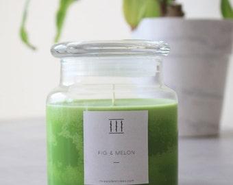 Fig & melon soy candle | medium apothecary jar