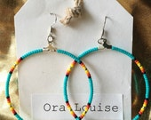 Beaded Hoop Dangle Earrings