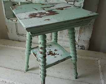 Ornate accent side table hand painted green w/ white shabby cottage chic antique end table or plant stand home decor anita spero design