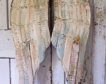 Distressed angel wings wall decor French soft blue cream w/ rusty accents wood metal shabby cottage chic wing set decor anita spero design