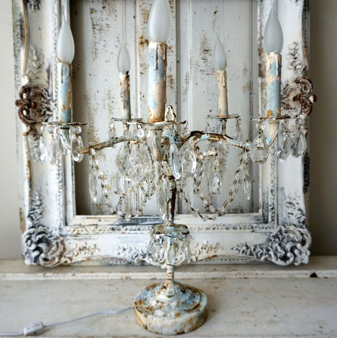 Candelabra lighting table chandelier distressed French chic