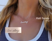 Your Handwriting Name, Signature or Word Necklace in Sterling Silver, Yellow Gold or Rose Gold - Inspirational Necklace - Memorial Jewelry