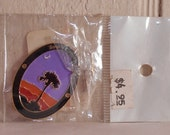 Jewelry supply South Carolina hiking medallion new in package metal enamel oval palm tree