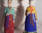 Rare Korean Hand-Carved Figurines Rice and Water Carrier dolls 1950s