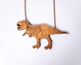 T Rex Dinosaur Necklace. Tyrannosaurus Rex Skeleton. Dinosaur Bone Jewellery. Laser Cut Wood Dinosaur Necklace. Statement Necklace. TRex.
