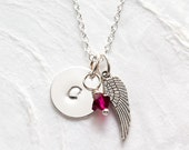 Miscarriage Necklace, Personalized Memorial Jewelry, Angel Wing Necklace, Baby Loss, Hand Stamped Initial, Swarovski Birthstone, Handmade