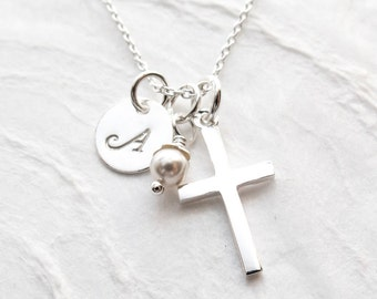 Personalized First Communion Necklace, Religious Gift for Goddaughter, Sterling Silver, Cross Charm, Religious Jewelry, Confirmation Gift