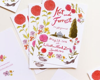 Painterly Garden custom Woodland Park Zoo wedding invitations