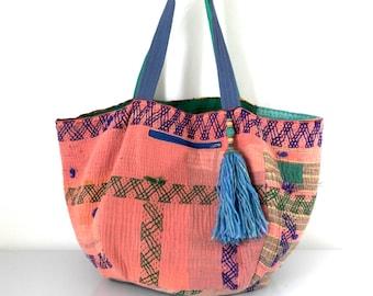 reversible kantha bag, reversible bag, recycled tote, beach bag, ooak