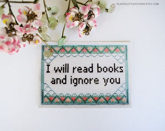 "Postcard Print ""I Will Read Books and Ignore You"" Book Lover, Book Worm, Bibliophile Art Print."