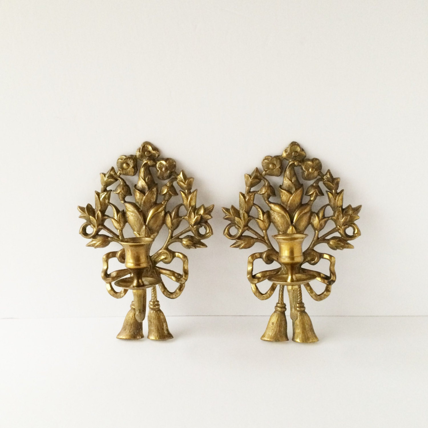 Candle Wall Sconces Vintage : Vintage Pair Brass Candle Sconces Ornate Flowers Ribbons