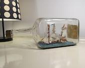 Vintage Large Ship in a Bottle   Vintage Set with Wooden Pedestal   Souvenir Bottle