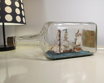 Ship in a bottle, Vintage Ship, Collectible Sailing Boat, Nautical Decor, Set with Wooden Pedestal, Vintage Souvenir