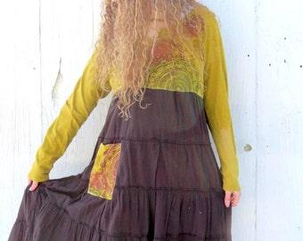 Gypsy Dress - tattered dress - womens upcycled clothing - ladies size medium large - bohemian dress - recycled repurposed clothes for her