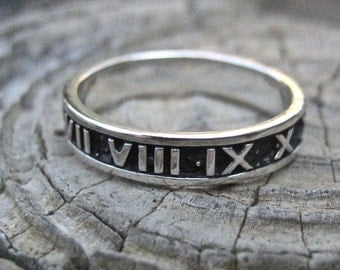 SALE Vintage Oxidized 925 Sterling Silver Roman Numeral Ring